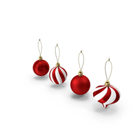 Assorted Christmas Ball Ornament Set PNG & PSD Images