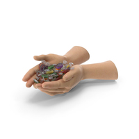 Two Hands Handful With Wrapped Oval Hard Candy PNG & PSD Images