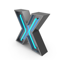 Neon Letter X PNG & PSD Images