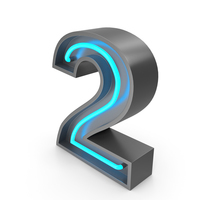 Neon Number 2 PNG & PSD Images