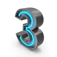 Neon Number 3 PNG & PSD Images