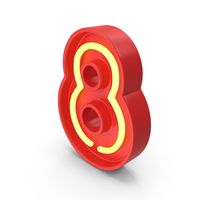 Neon Number 8 PNG & PSD Images