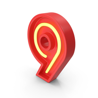 Neon Number 9 PNG & PSD Images