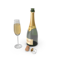 Champagne Bottle Krug Opened With Flute PNG & PSD Images
