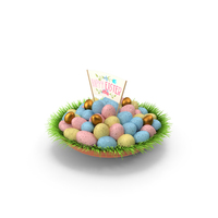 Easter Eggs On Grass PNG & PSD Images