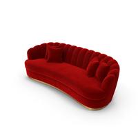 Brabbu Red Velvet Curved Sofa PNG & PSD Images