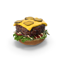 Burger Open with Pickles PNG & PSD Images