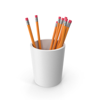 Pencil Cup With Pencils PNG & PSD Images