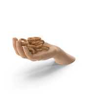 Hand Handful with Pretzel Rings with Sesame PNG & PSD Images