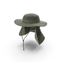 Green Outdoor Fishing Hat with Removable Neck Flap PNG & PSD Images