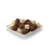 Square Plate With Chocolate PNG & PSD Images