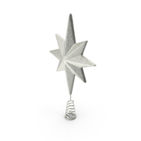 Holiday Silver Star Christmas Tree Topper PNG & PSD Images