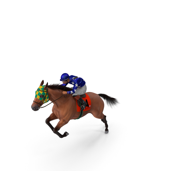 Jumping Bay Racing Horse with Jokey Fur PNG & PSD Images