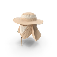 Khaki Outdoor Fishing Hat with Removable Neck Flap and Face Cover Mask PNG & PSD Images