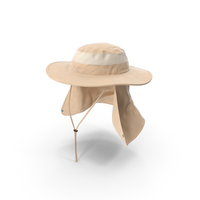Khaki Outdoor Fishing Hat with Removable Neck Flap PNG & PSD Images
