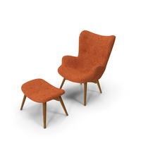 Grant Featherston Contour Style Chair Orange PNG & PSD Images
