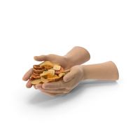 Two Hands Handful with Mixed Salty Snacks PNG & PSD Images