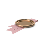 Pink Ribbon with Wax Stamp PNG & PSD Images