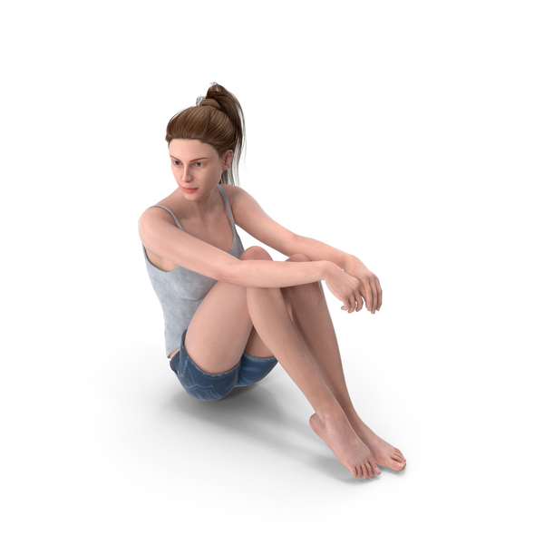 Woman Sits Arms on Legs PNG & PSD Images