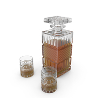 Crystal Whiskey Decanter With A Pair Of Glasses PNG & PSD Images