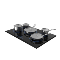 5 Zone Induction Hob with Stainless Tableware PNG & PSD Images