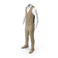 Men's Pants Waistcoat Shirt Shoes Beige PNG & PSD Images