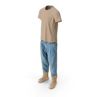 Men's Jeans Boots T-shirt Beige Blue PNG & PSD Images