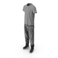 Men's Jeans Boots T-shirt Dark Grey PNG & PSD Images