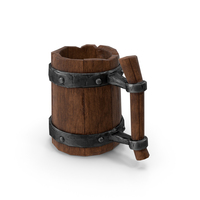 Low Poly Wooden Mug Stylized PNG & PSD Images