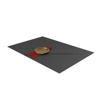 Black Envelope with Red Ribbon and Gold Wax Seal PNG & PSD Images