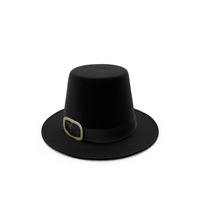 Black Pilgrim Costume Hat with Buckle PNG & PSD Images