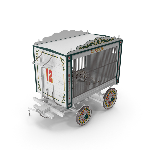 Circus Traveling Wagon with White Tiger PNG & PSD Images