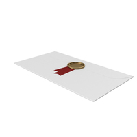 White Envelope with Ribbon and Wax Stamp PNG & PSD Images