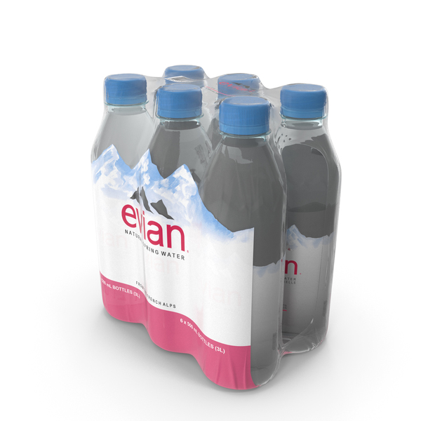 Evian Mineral Water 500ml 6 Bottle Pack PNG & PSD Images