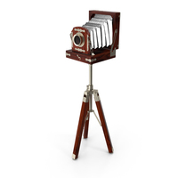 Antique Folding Plate Camera and Tripod PNG & PSD Images