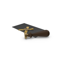 Black Envelope with Ribbon and Wax Seal and Stamp PNG & PSD Images
