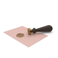 Pink Envelope with Wax Seal and Stamp PNG & PSD Images