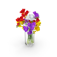 Freesia Flowers Bouquet in Vase PNG & PSD Images