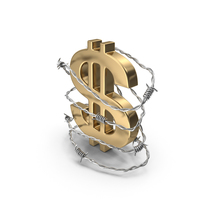 Dollar Gold in Barbed Wire Steel PNG & PSD Images