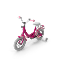Girls Kids Bike with Training Wheels PNG & PSD Images