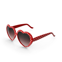 Heart Shaped Sunglasses Red Polka Dot PNG & PSD Images