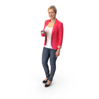 Woman Standing with Cup PNG & PSD Images