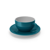 Cup and Saucer Turquoise PNG & PSD Images