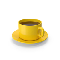 Coffee Cup With Plate Yellow PNG & PSD Images