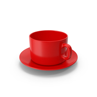 Red Coffee Cup With Plate Empty PNG & PSD Images