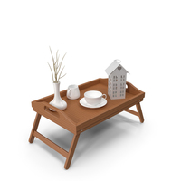 Wooden Breakfast Bed Tray PNG & PSD Images