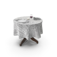 Round Table And Tableware PNG & PSD Images