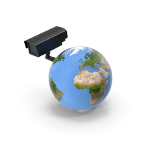 Earth Stylized with Security Camera PNG & PSD Images