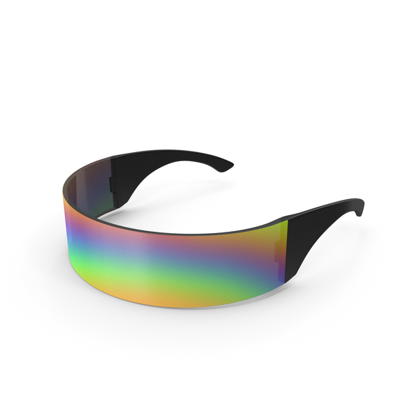Futuristic Rainbow Shield Sunglasses PNG & PSD Images