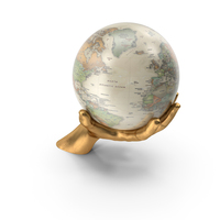 Golden Hand Holding a Vintage Globe PNG & PSD Images